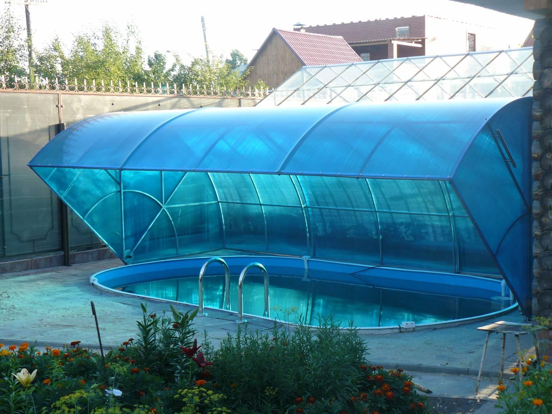 Навес из поликарбоната для бассейна своими руками 680